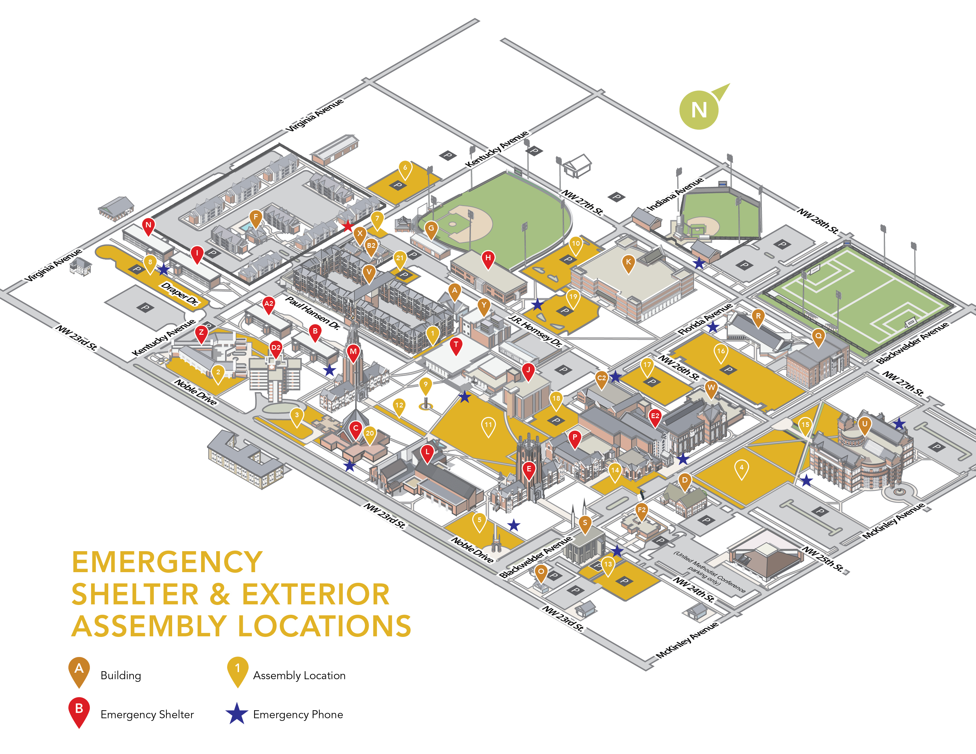 Emergency Shelter and Exterior Assembly Locations map